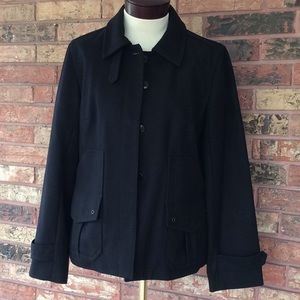 J Crew Women's M Black Lined Wool Coat w Pockets